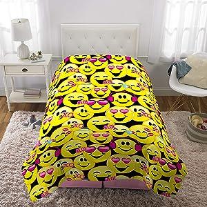 """Franco Kids Bedding Super Soft Comforter, Twin Size 64"""" x 86"""", Emojination"""