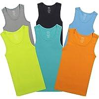 Buyless Fashion Camisetas sin Mangas para niños de algodón Blanco Suave, (Pack 6)