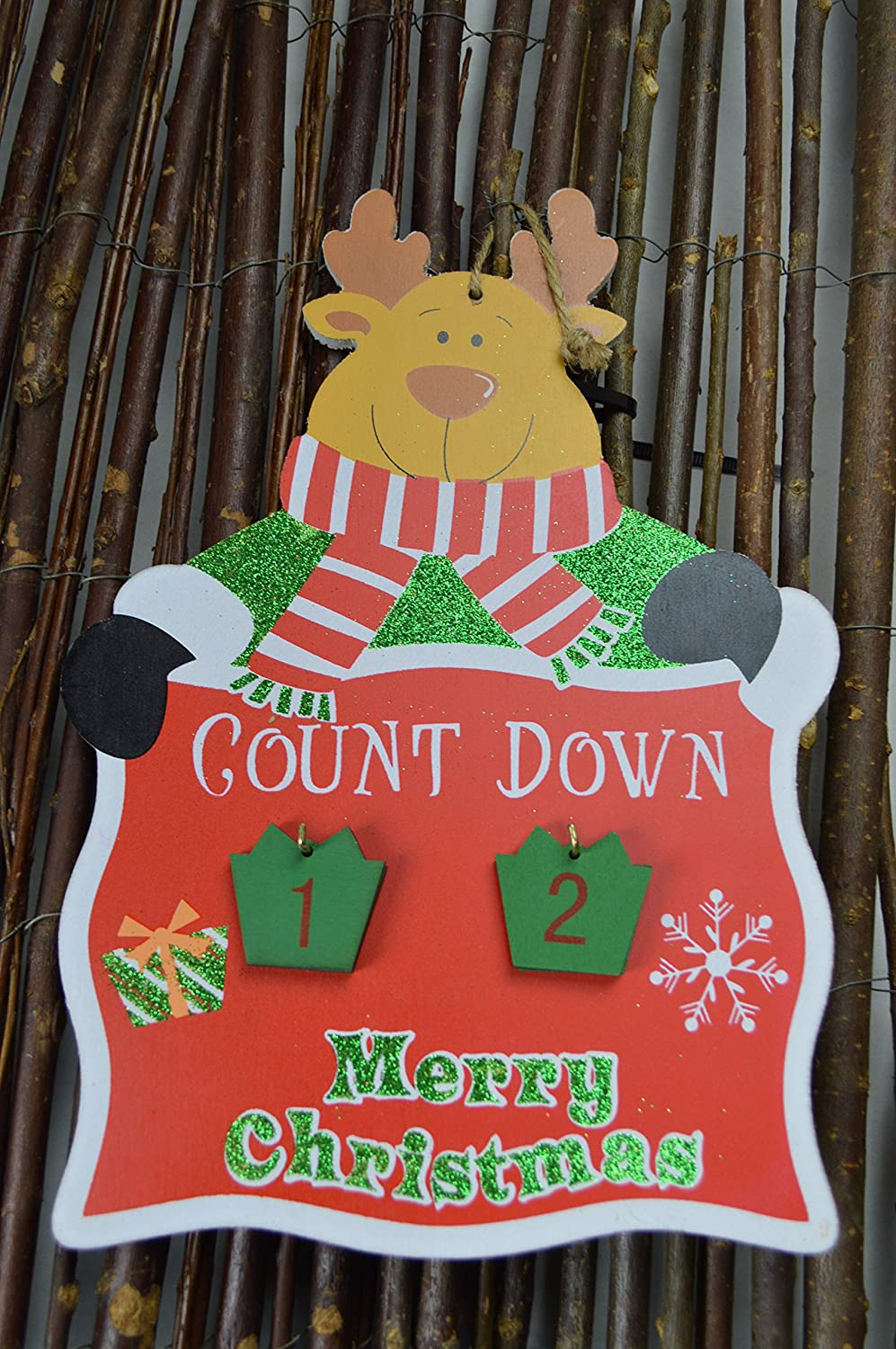 Countdown to Christmas Hanging Advent Calendar Plaque - Reindeer