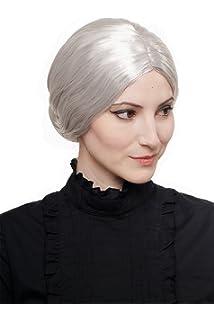 WIG ME UP ® - 3542-P68A Peluca Mujer Halloween Carnaval moño gris abuela institutriz