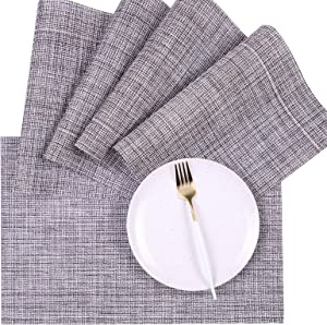 Placemats for Kitchen Dining Table Set of 6,Heat-Resistant Woven Vinyl Placemats,Stain Resistant Anti-Skid Washable PVC Table Mats