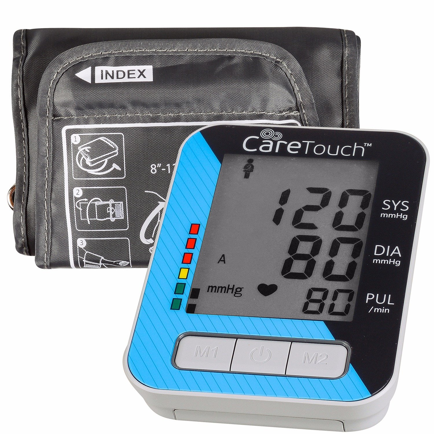 Care Touch Fully Automatic Upper Arm Blood Pressure Monitor - Classic Edition, Medium Cuff - Batteries and Case Included