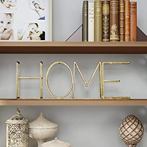 Lavish Home Cutout Free-Standing Table Top Sign-3D Home Word Art Accent Decor with Gold Metallic Finish-Modern, Classic, or Farmhouse Style