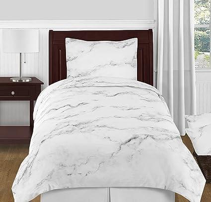 Sweet Jojo Designs 4 Piece Modern Grey, Black And White Marble Twin XL Size
