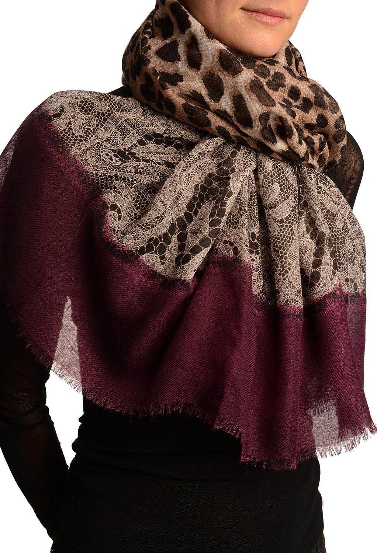 Large Lace & Leopard Print On Purple - Scarf