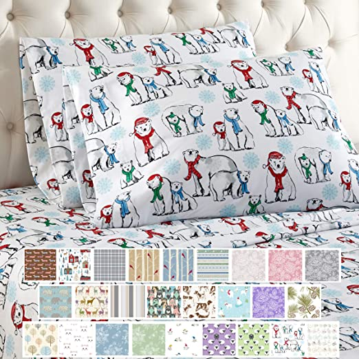 Amazon Com Thermee Micro Flannel Sheet Set Cal King North Pole Home Kitchen