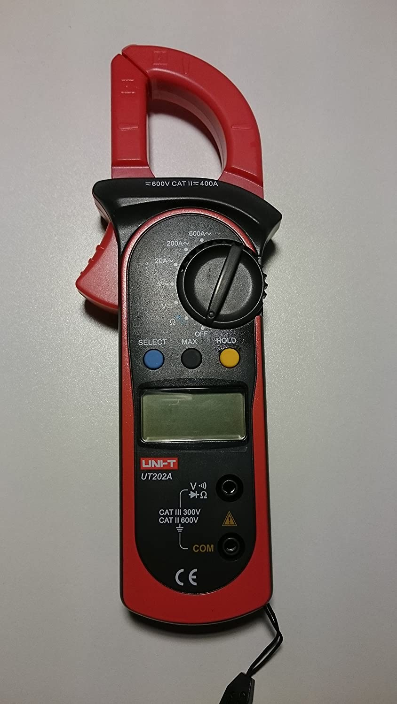 Amper/ímetro//mult/ímetro digital de pinzas Uni-T UT202A manual o autom/ático, CC//CA, 600 amps