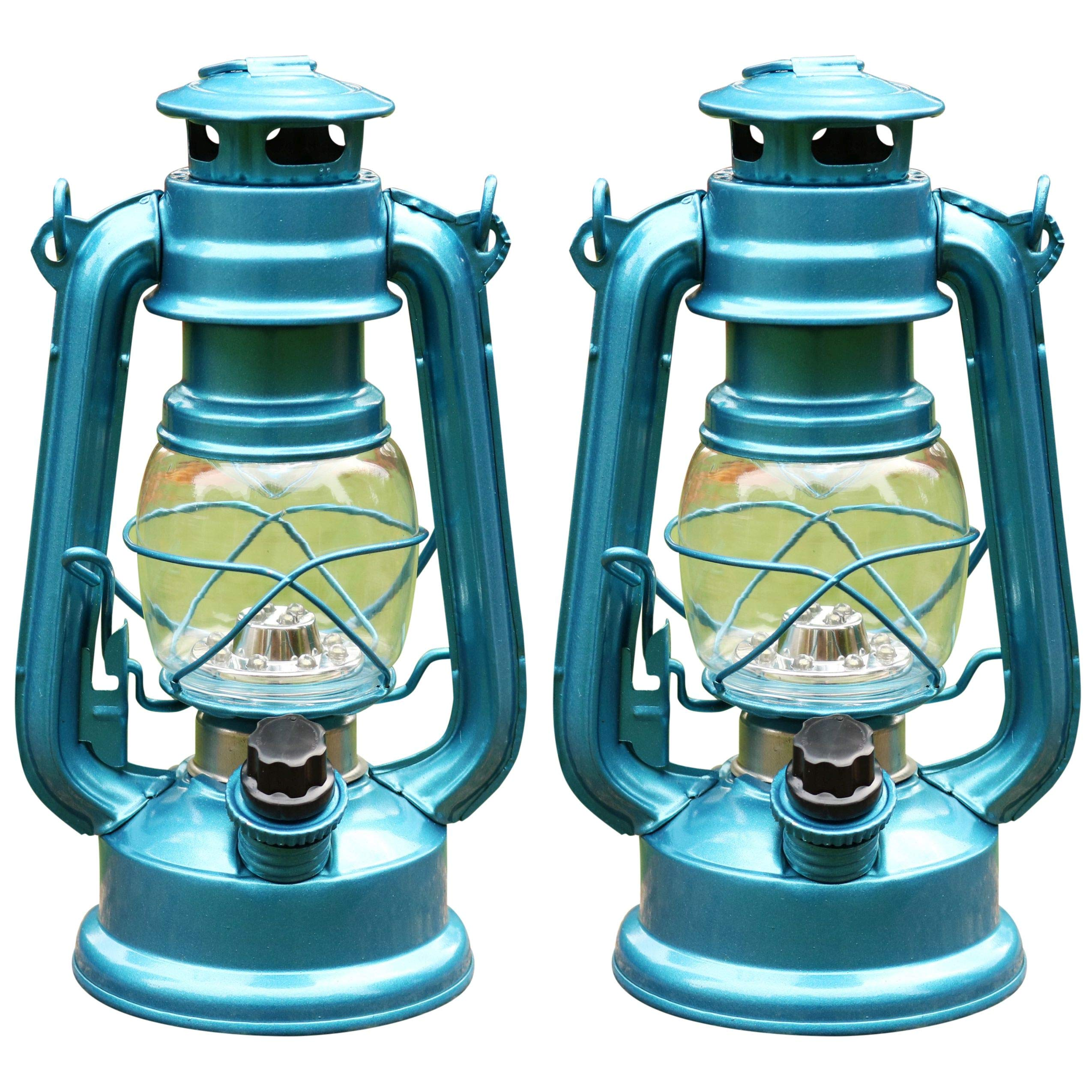 PK Green LED Hurricane Lantern, Dimmable, Set of 2