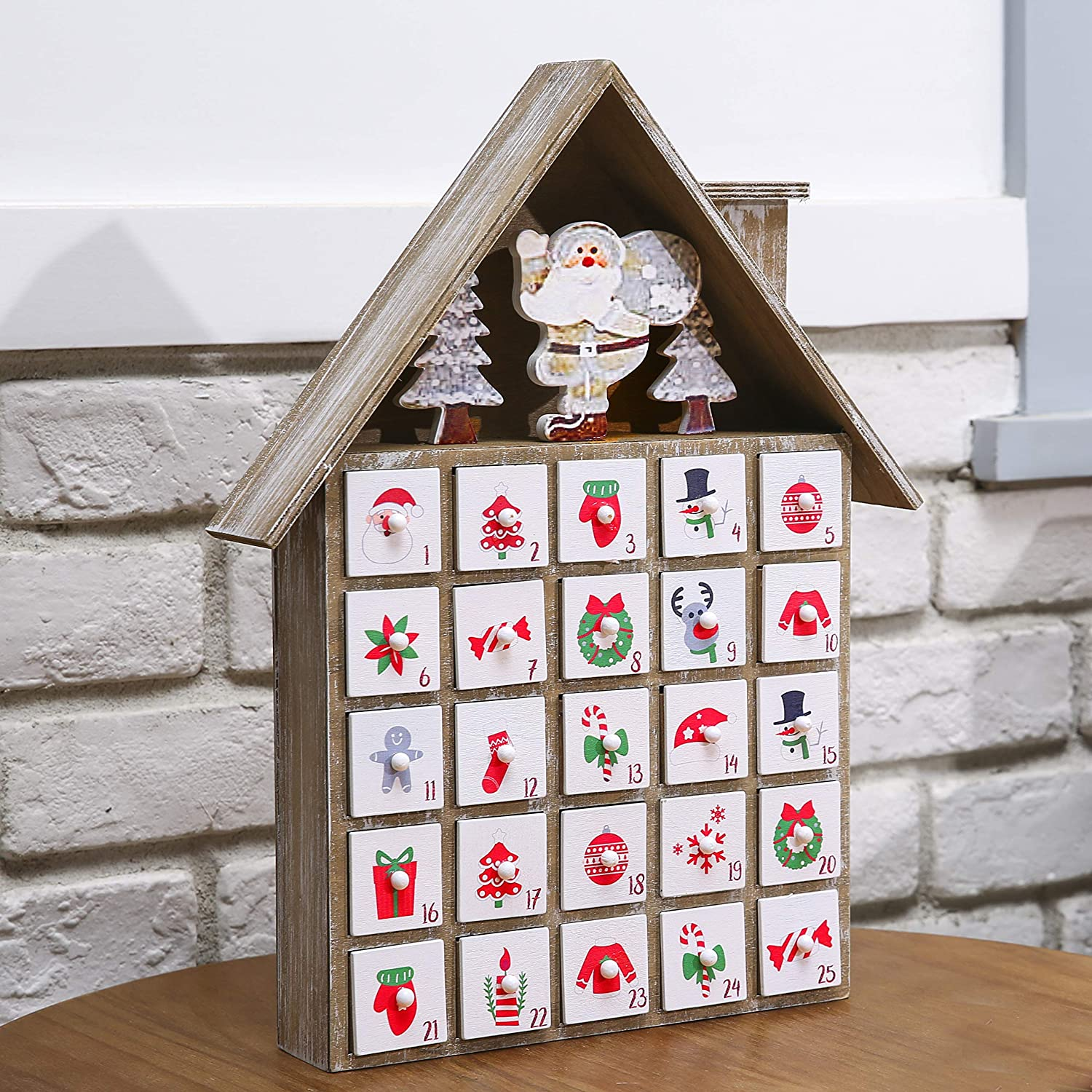 Mingle Fun Wooden Advent Calendar Christmas for Kids, Traditional Christmas Countdown Calendar Decoration with 25 Drawers, Unique Holiday Decoration, House, Tree, Santa, Snowman AMZ Tool