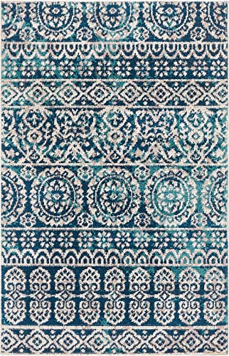Well Woven Signora Blue Vintage Floral Tile Design Short Pile Kilim-Style Modern 2×3 2 x 3 Area Rug Multicolor Pattern