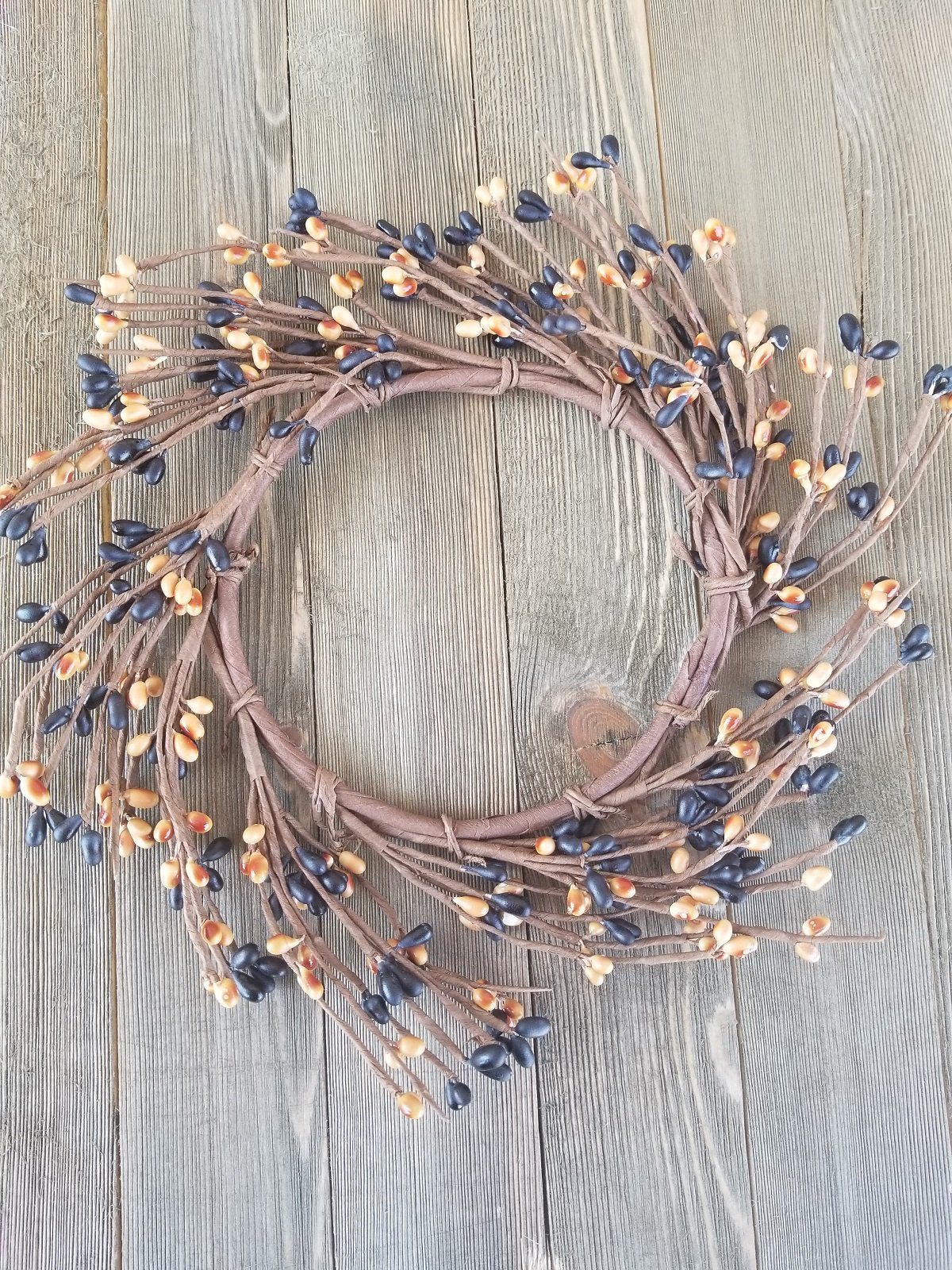 Black & Golden Brown Mini Wreath Or Candle Ring Country Primitive Floral Décor Perfect Candle Ring For 4'' Pillars (Wreath is 8'')