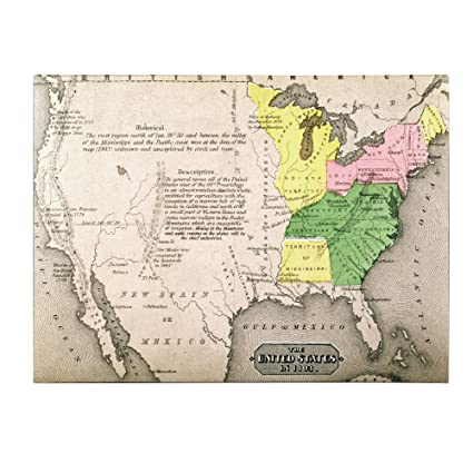 Amazon.com: Map of The United States in 1803, 14 by 19-Inch Canvas on