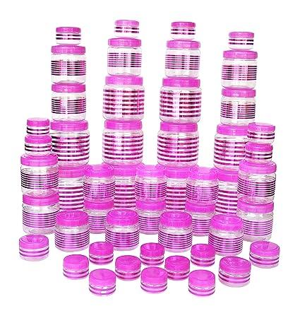ba4fba62242e8 Princeware 50pcs Julia Pet Jar Container Set, Pink Color