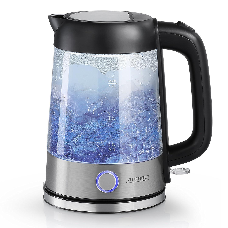 Arendo - Edelstahl-Glas-Wasserkocher