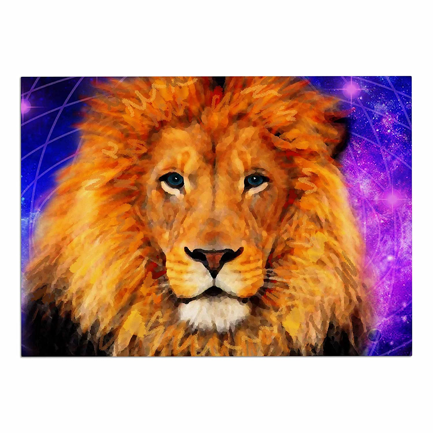 KESS InHouse NL1026ADM02 NL Designs Space Lion Purple orange Dog Place Mat, 24  x 15