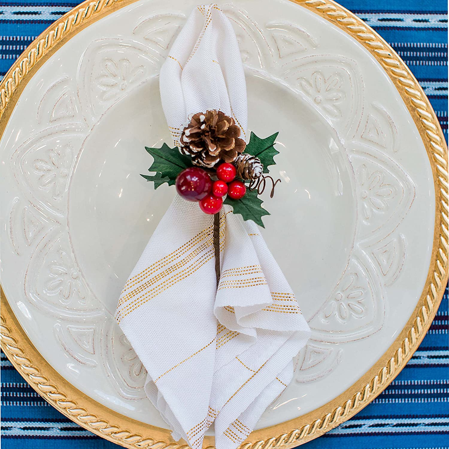 Fair Trade, Ethically Produced Holiday Cloth Dinner Napkins, Set 4, White With Gold