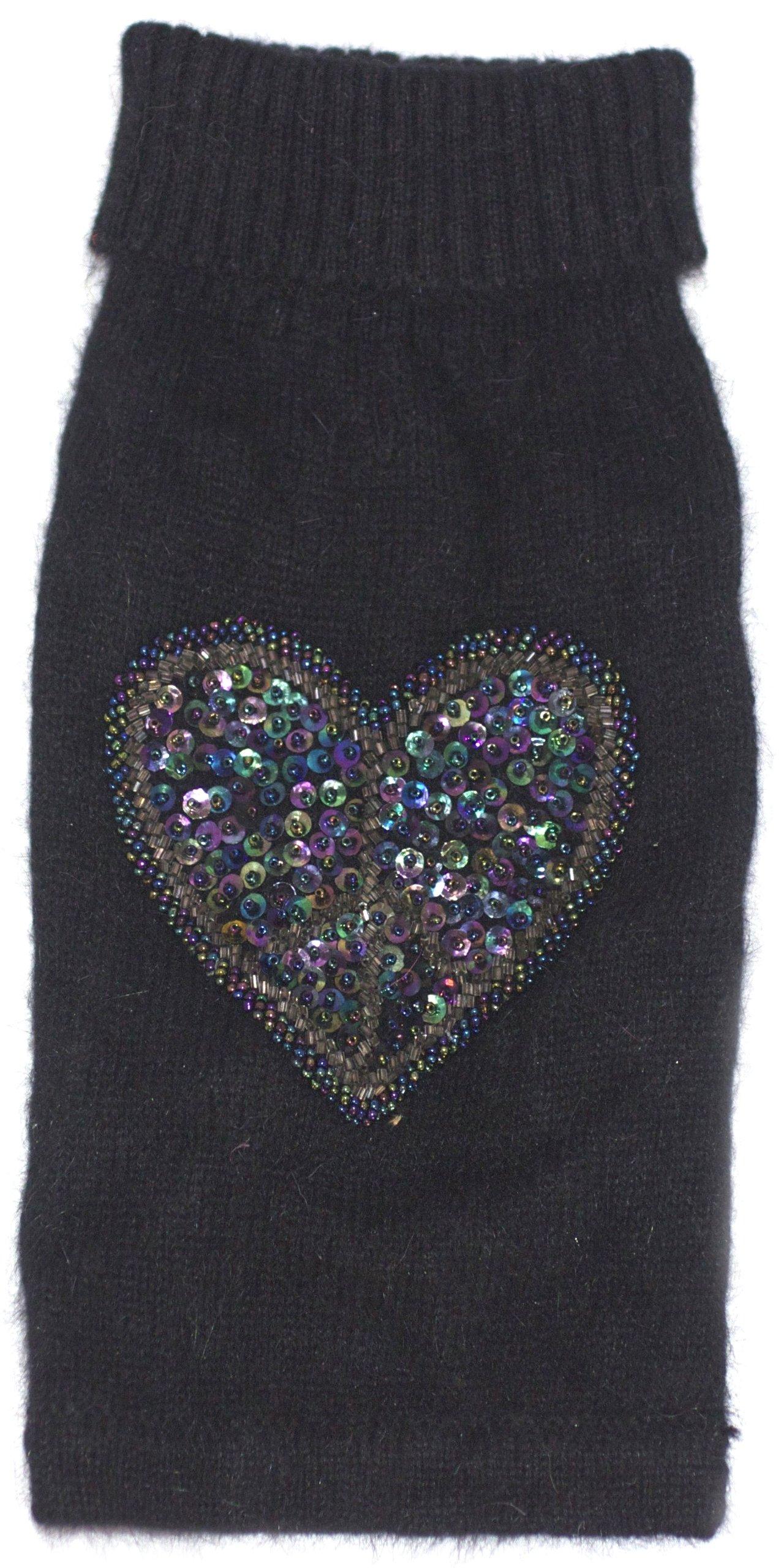 The Dog Squad Beaded Peace Heart Turtleneck Pet Sweater, X-Small, Black