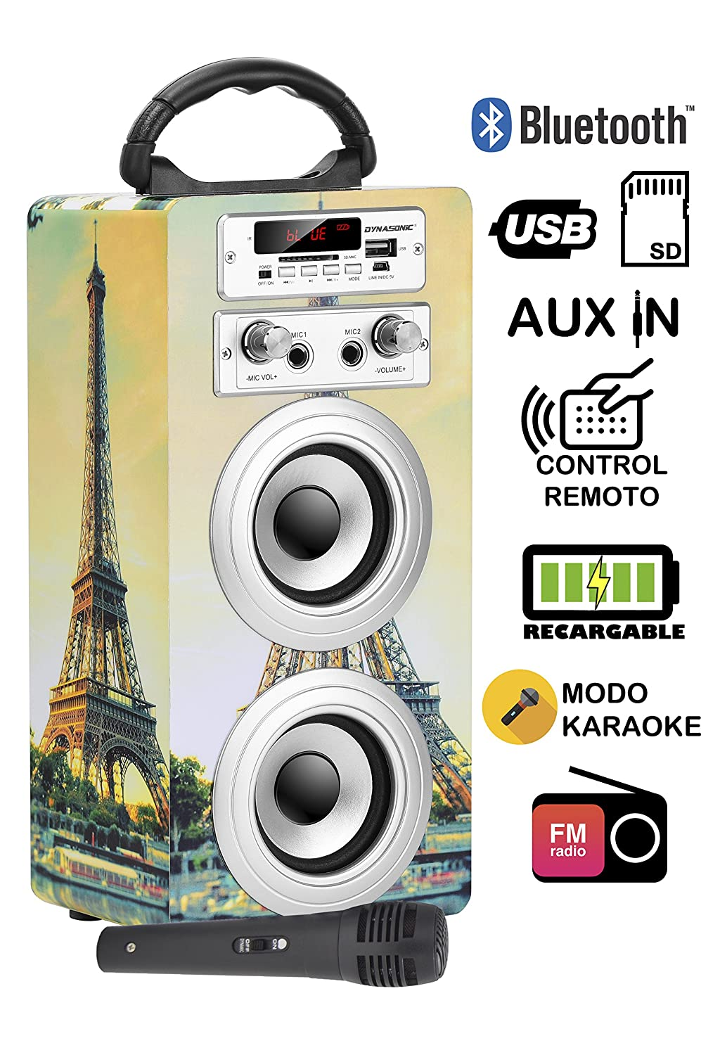DYNASONIC - Altavoz Bluetooth Portatil con modo Karaoke, Radio FM y Lector USB SD (Modelo 11) Easo Plus Corporate 025-11