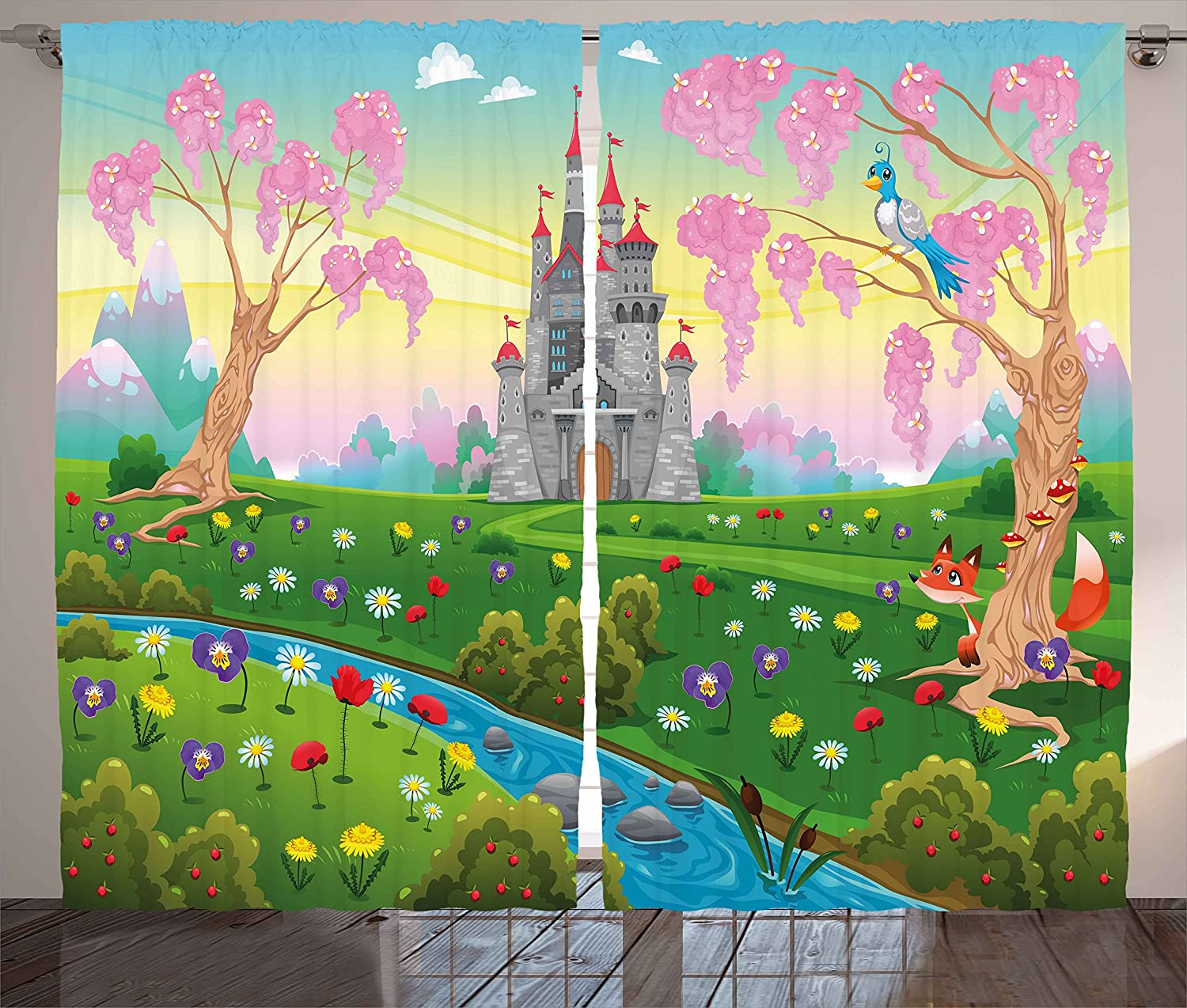 "Ambesonne Cartoon Curtains, Fairy Tale Castle Scenery in Floral Garden Princess Kids Girls Fantasy Picture, Living Room Bedroom Window Drapes 2 Panel Set, 108"" X 84"", Pink Blue"