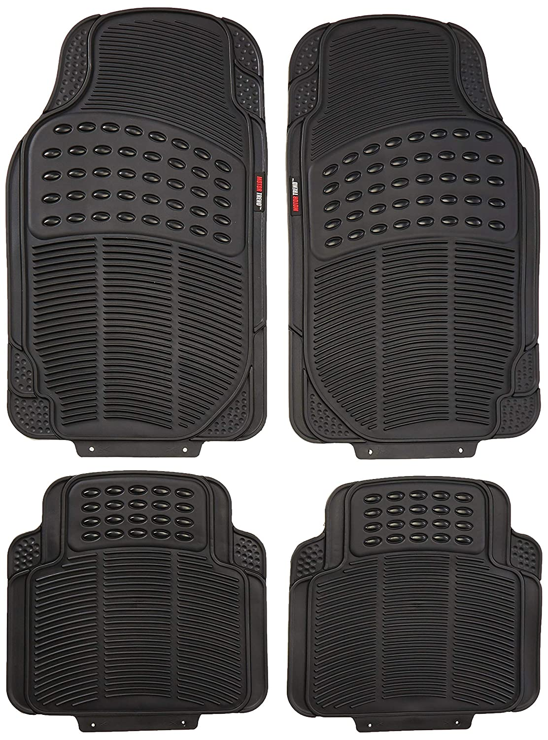 4 PC 100/% Odorless /& All Weatherproof Motor Trend MT754GRAMw1 FlexTough Heavy Duty Car Floor Mats Gray