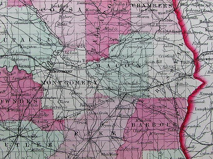 Amazoncom Alabama State Fine Detailed 1864 Scarce Jh Colton Old - Us-map-1864