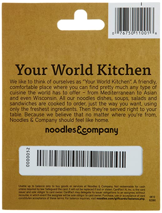 Noodles Gift Card Balance #1510577722 | WatchInf