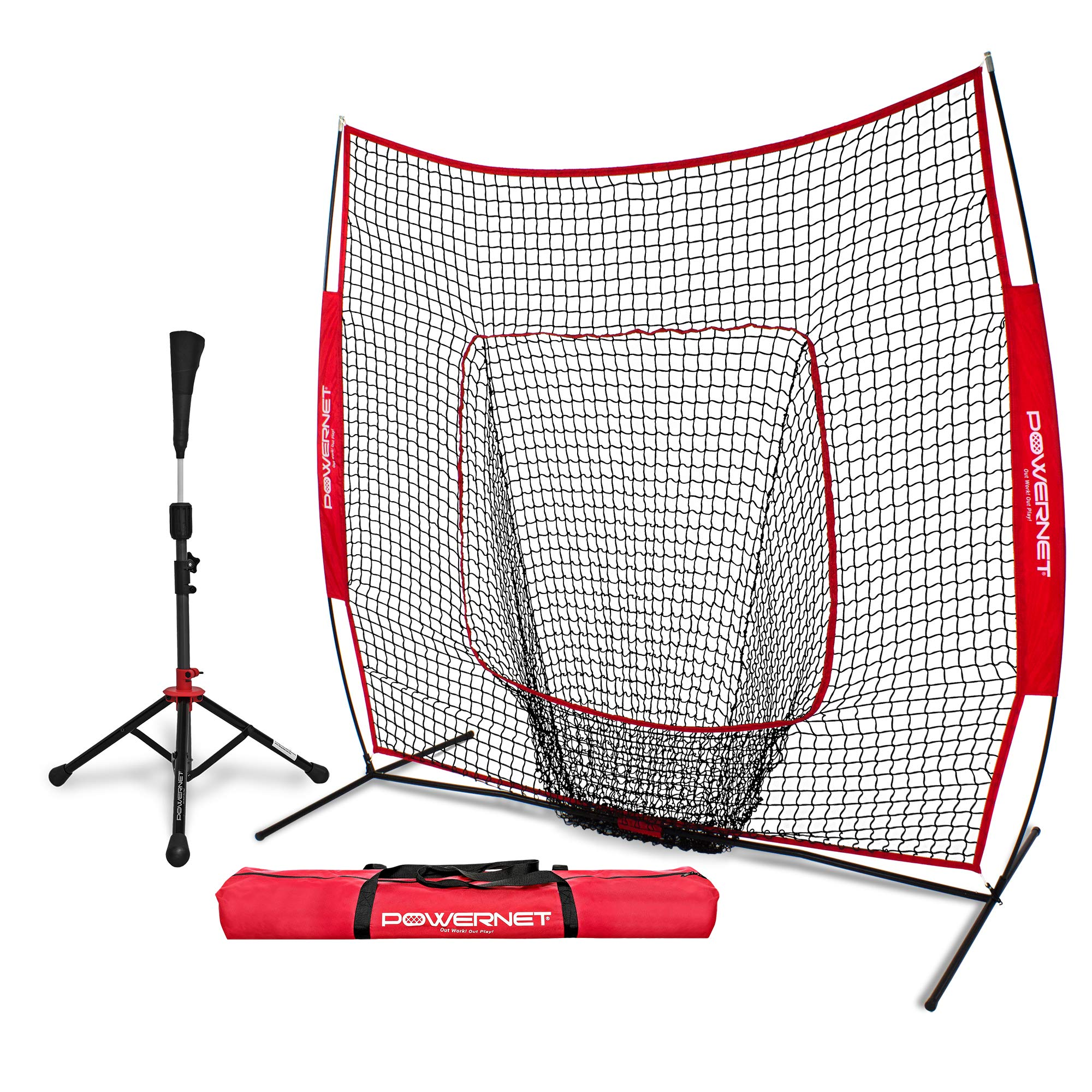 PowerNet Baseball Softball Practice Net 7x7 with Deluxe Tee (Red) | Practice Hitting, Pitching, Batting, Fielding | Portable, Backstop, Training Aid, Large Mouth, Bow Frame | Training Equipment Bundle by PowerNet