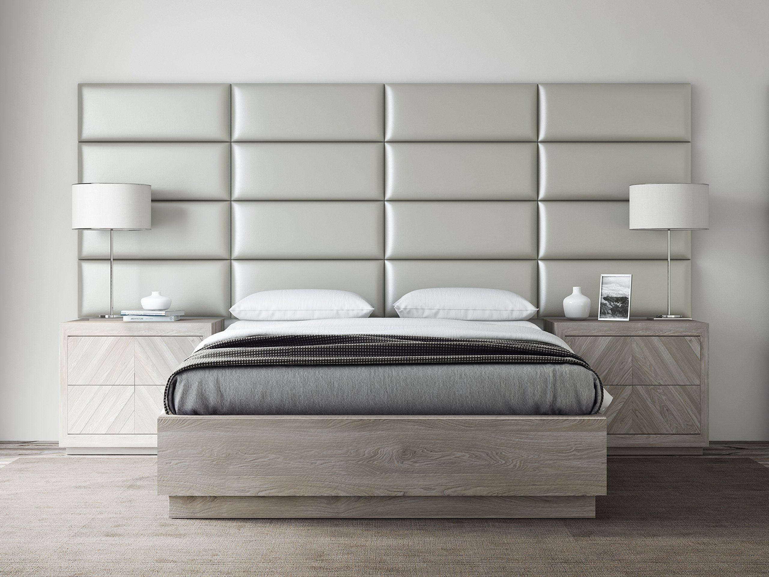 VANT Upholstered Headboards - Accent Wall Panels - Packs Of 4 - Metallic Neutral - 30'' Wide x 11.5'' Height - Full - Queen Headboard