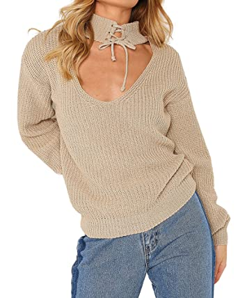 285329774d15 Generation Fashion New Ladies Women Knitted Choker Tie Neck Baggy Jumper  Top Sweater Beige 8-16: Amazon.co.uk: Clothing