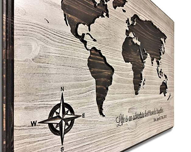 Amazon.com: World Map Art, Wood Wall Art, Life is an adventure Quote ...