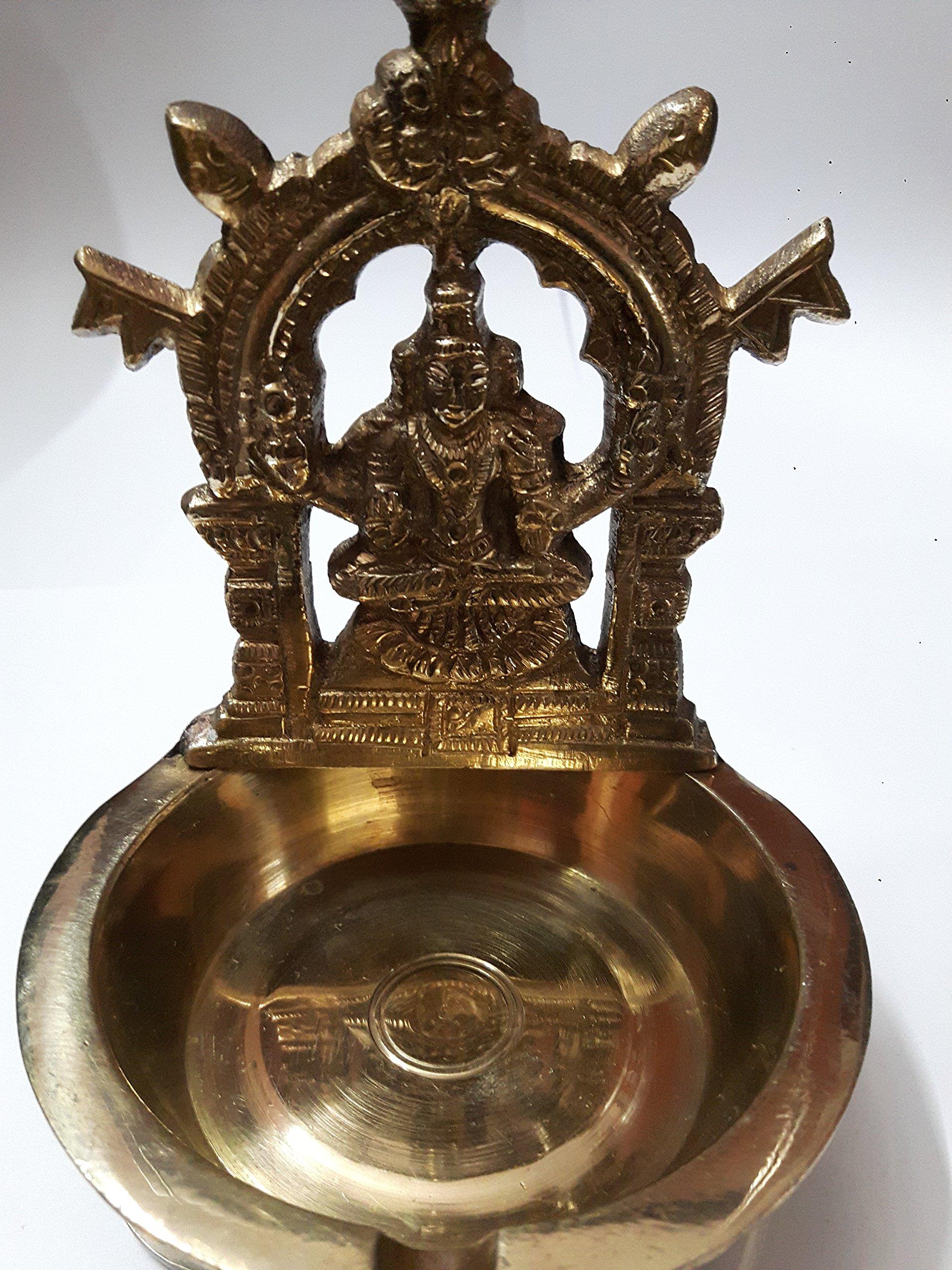 Mookambigai Lamp India Brass Diya Deepak Akhand Jyot Kuber Hindu Temple Havan Puja Religious Oil Lamp (11 cms Height)