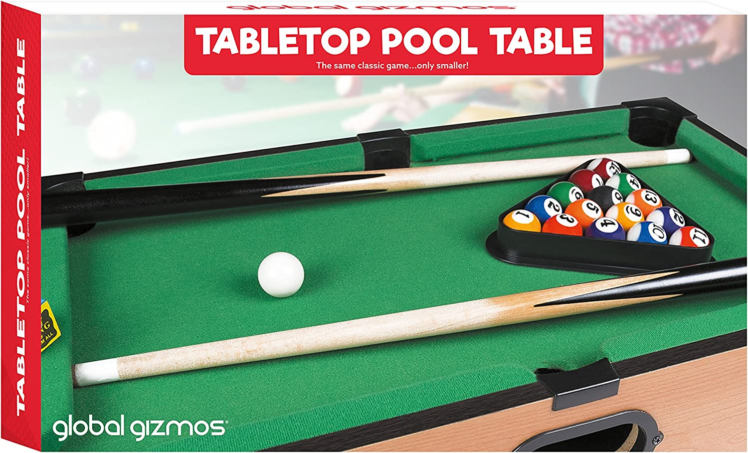 Global Gizmos 50 x 30 cm Deluxe Table Top Pool Game/Snooker Table Game by Global Gizmos: Amazon.es: Juguetes y juegos