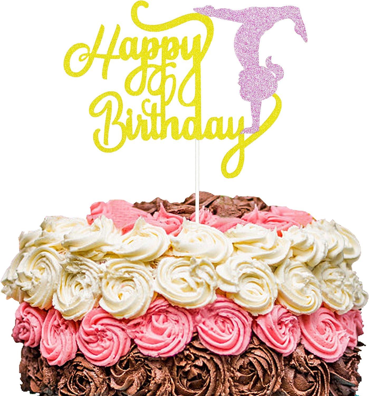 ZOIN Gold and Pink Glitter Gymnastics Happy Birthday Cake Topper Gymnastics Birthday Party Event Decorations