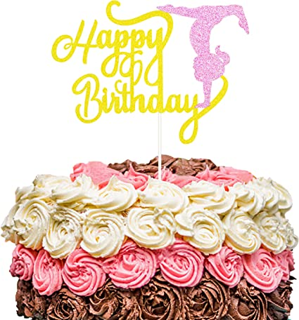 Phenomenal Amazon Com Zoin Gold And Pink Glitter Gymnastics Happy Birthday Personalised Birthday Cards Petedlily Jamesorg