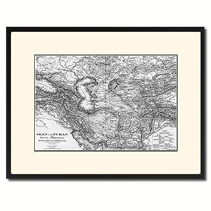Amazon.com: Middle East Iran Iraq Old B&W Map 47055 Print on Canvas ...