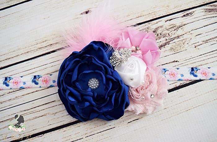 Amazon.com  Handcrafted Royal Blue Light Pink and White Fancy Headband -  Over the Top Bows - Spring Birthday Headband - Easter Baby Headband -  Toddler  ... b212e160bec