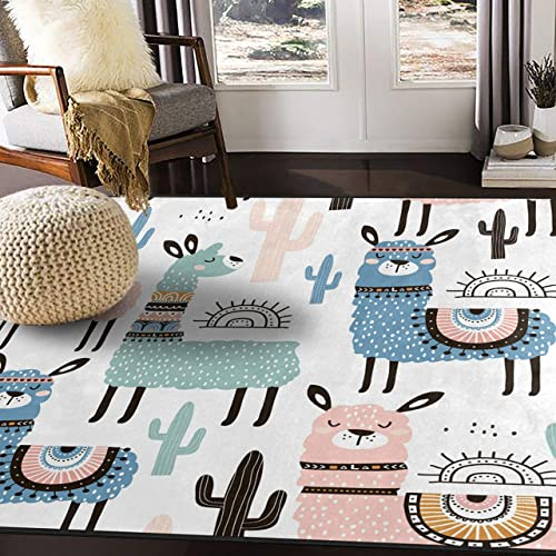 ALAZA Cartoon Llama Cactus Sun Area Rug Rugs for Living Room Bedroom 7 x 5