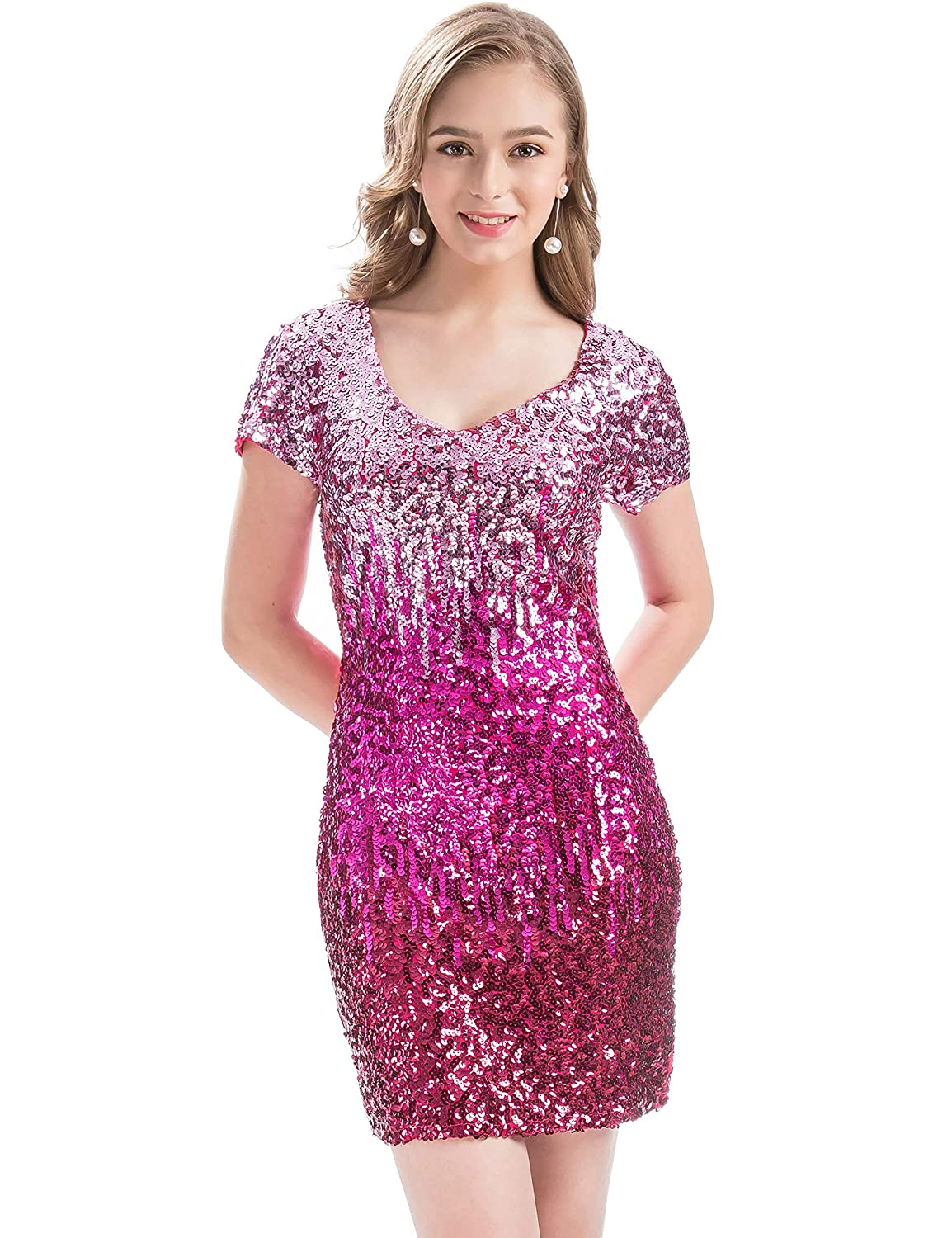 443bb407f4f Amazon.com  MANER Women s Sequin Glitter Short Sleeve Dress Sexy V Neck  Mini Party Club Bodycon Dresses  Clothing