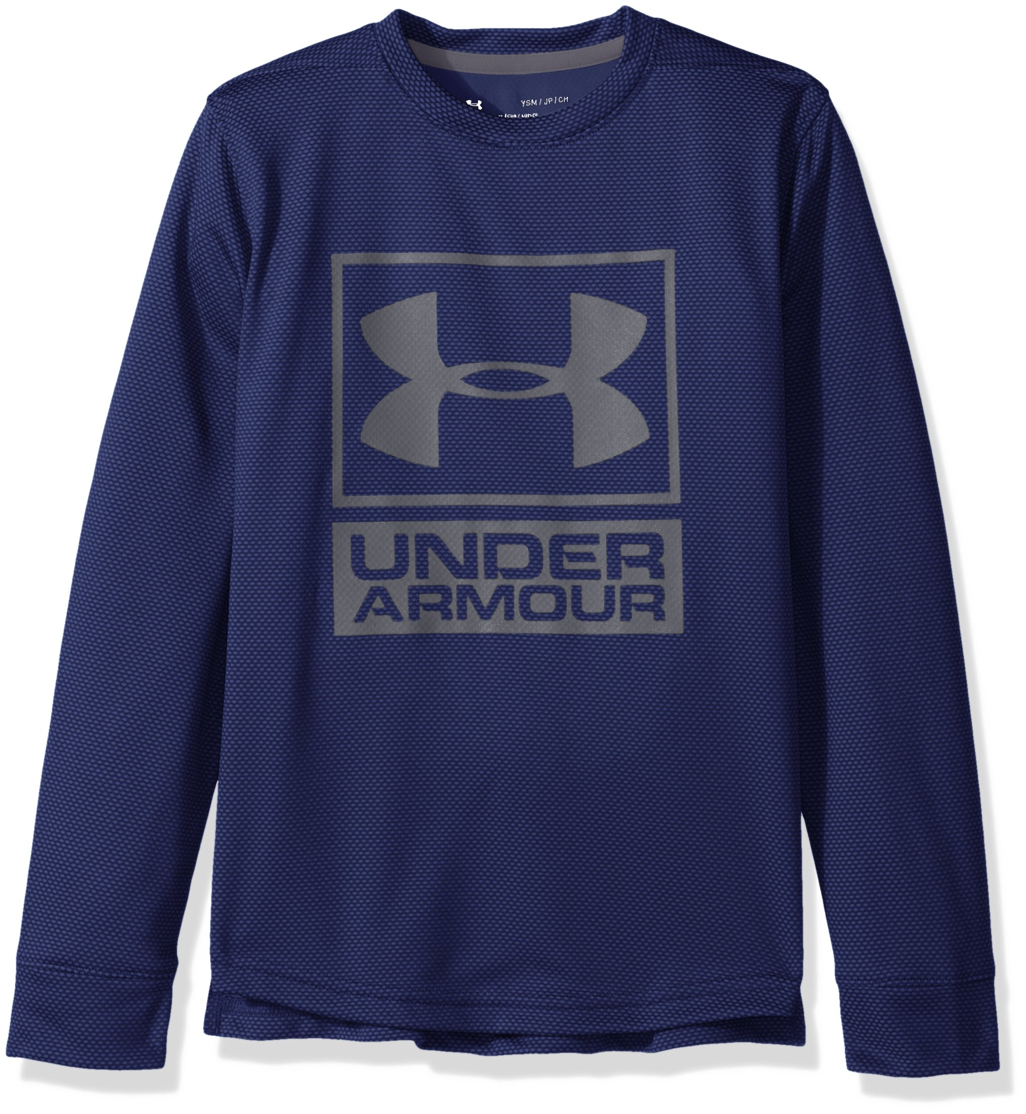 Under Armour Boys' Tech Textured Crew,Midnight Navy /Graphite, Youth Small by Under Armour