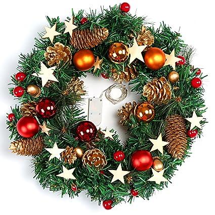 Naler Corona De Navidad Para Puerta Corona Decoracion Navidena Con - Coronas-de-navidad-para-puertas