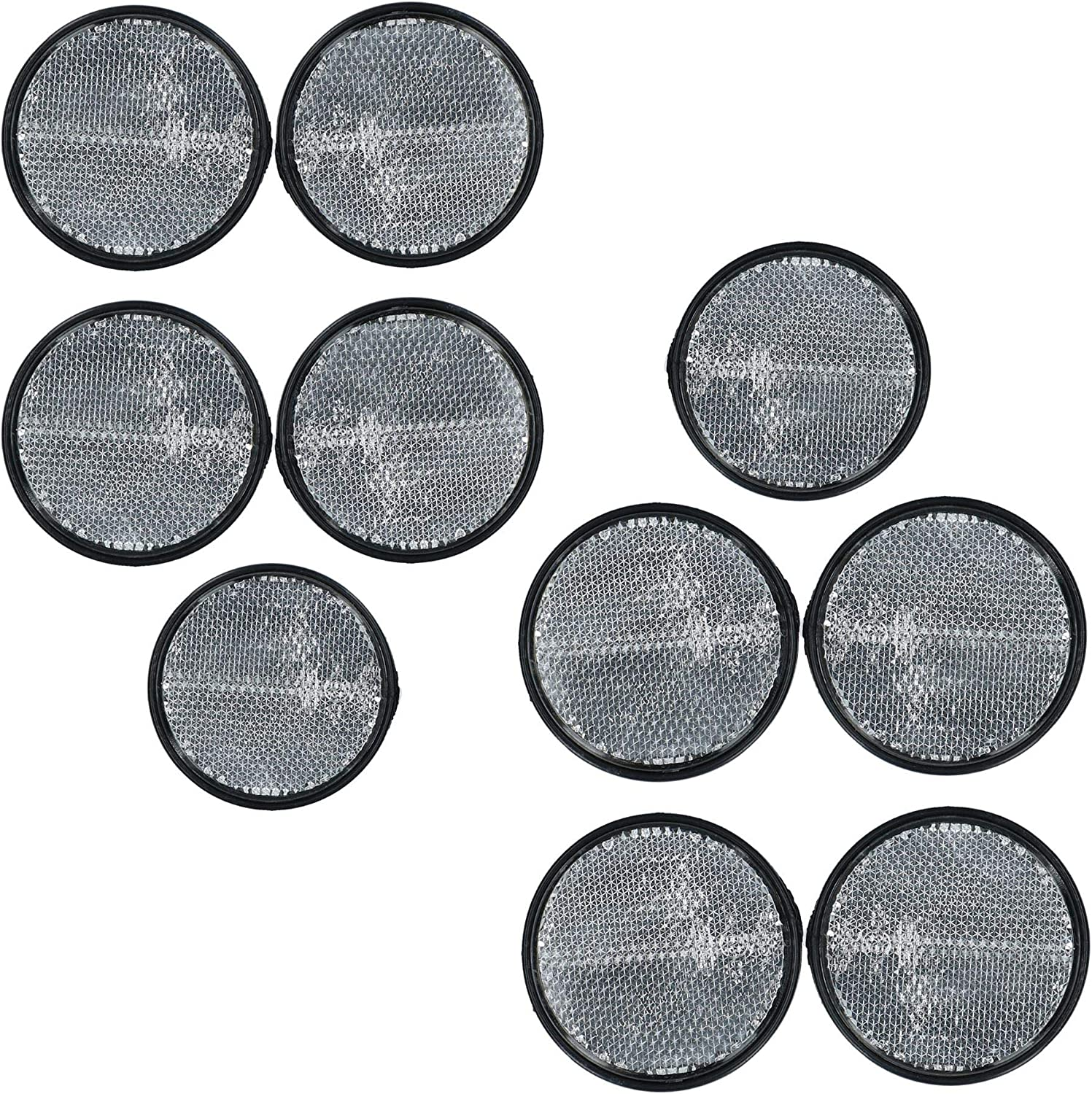 Clear Round Front Reflector White Pack of 4 for Trailers Fence Gate Posts TR069