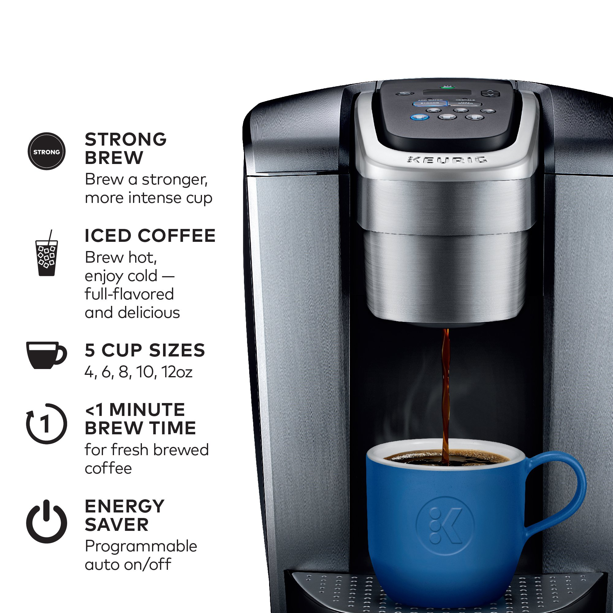 Keurig K-Elite K Single Serve K-Cup Pod Maker, with Strong Temperature Control, Iced Coffee Capability, 12oz Brew Size, Programmable, Brushed Silver by Keurig (Image #2)