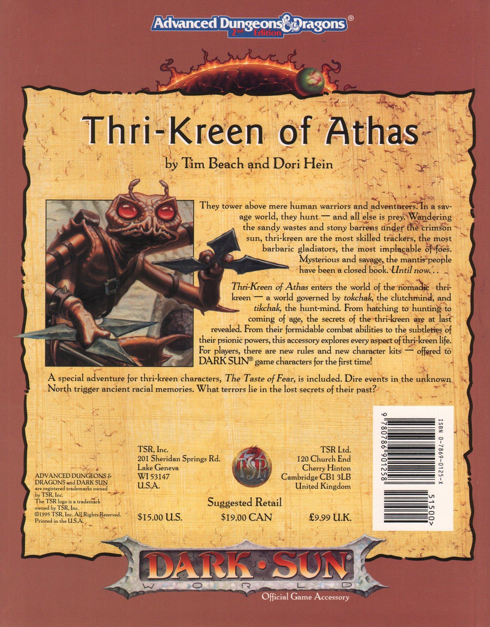 Thri Kreen Of Athas Advanced Dungeons Dragons 2nd Edition Dark