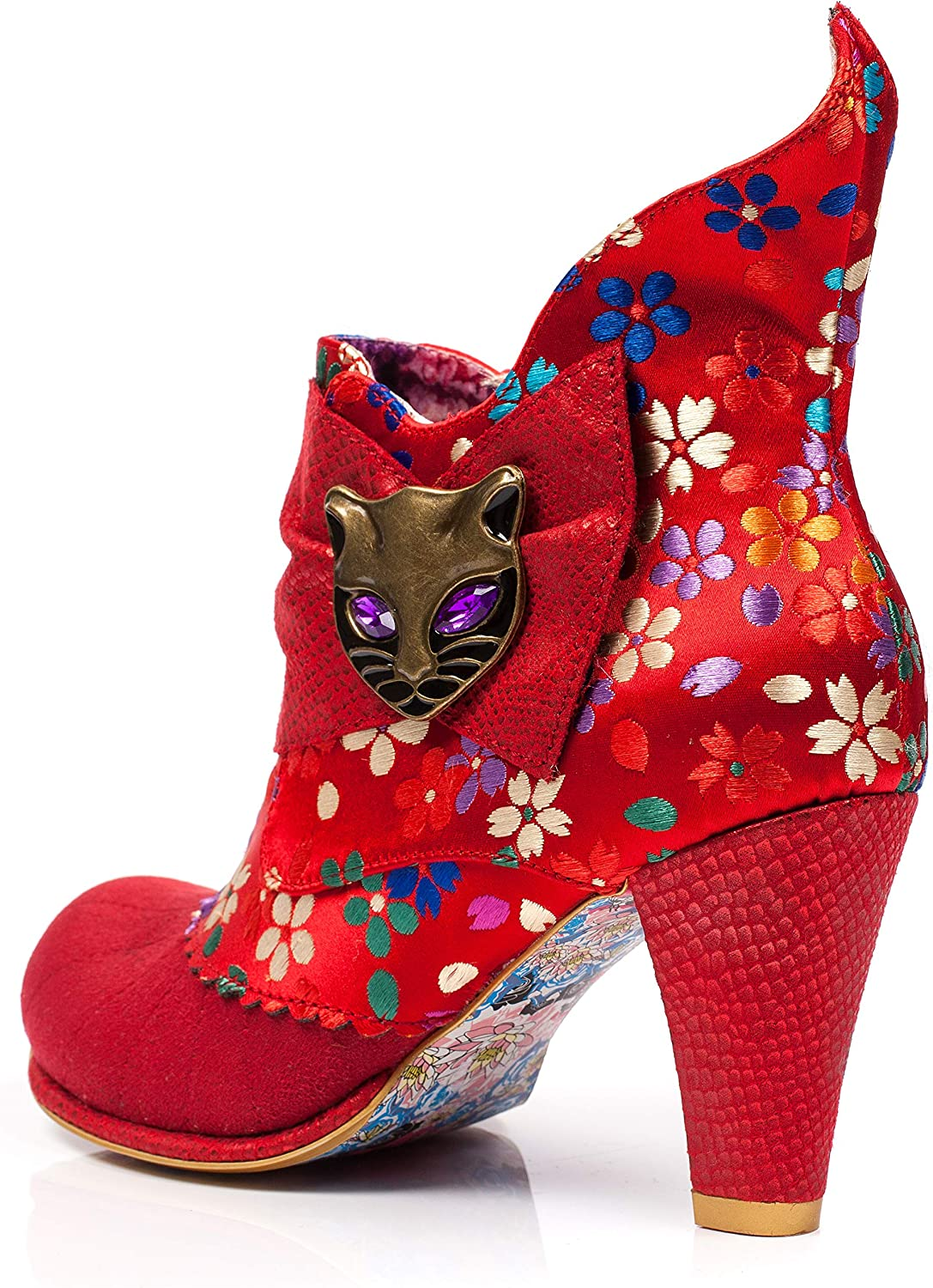 Irregular Choice Miaow Womens Ankle Boot Red Floral Red Floral Au