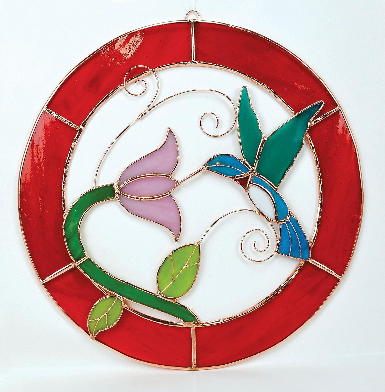 Large Hummingbird Red Frame Circle Window Panel
