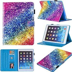 iPad Mini Case, Mini 2 3 4 Mini 5 Case Cover, MonsDirect Leather Smart Kickstand Case Flip Wallet Protective Case Compatible with Apple iPad Mini 1 2 3 4 Mini 5 2019, Colorful Diamond