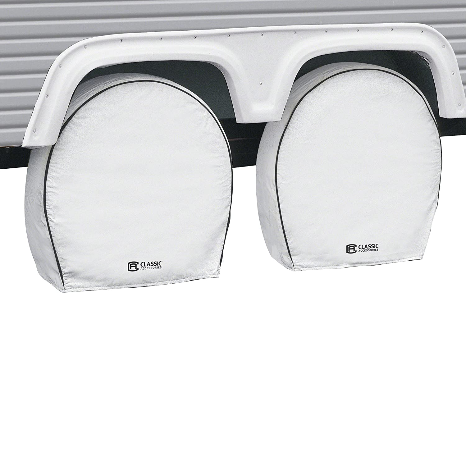 Classic Accessories 80-221-152302-00 White 26.75' - 29' Diameter x 8.5' Width RV Deluxe Wheel Cover, (Pack of 4)