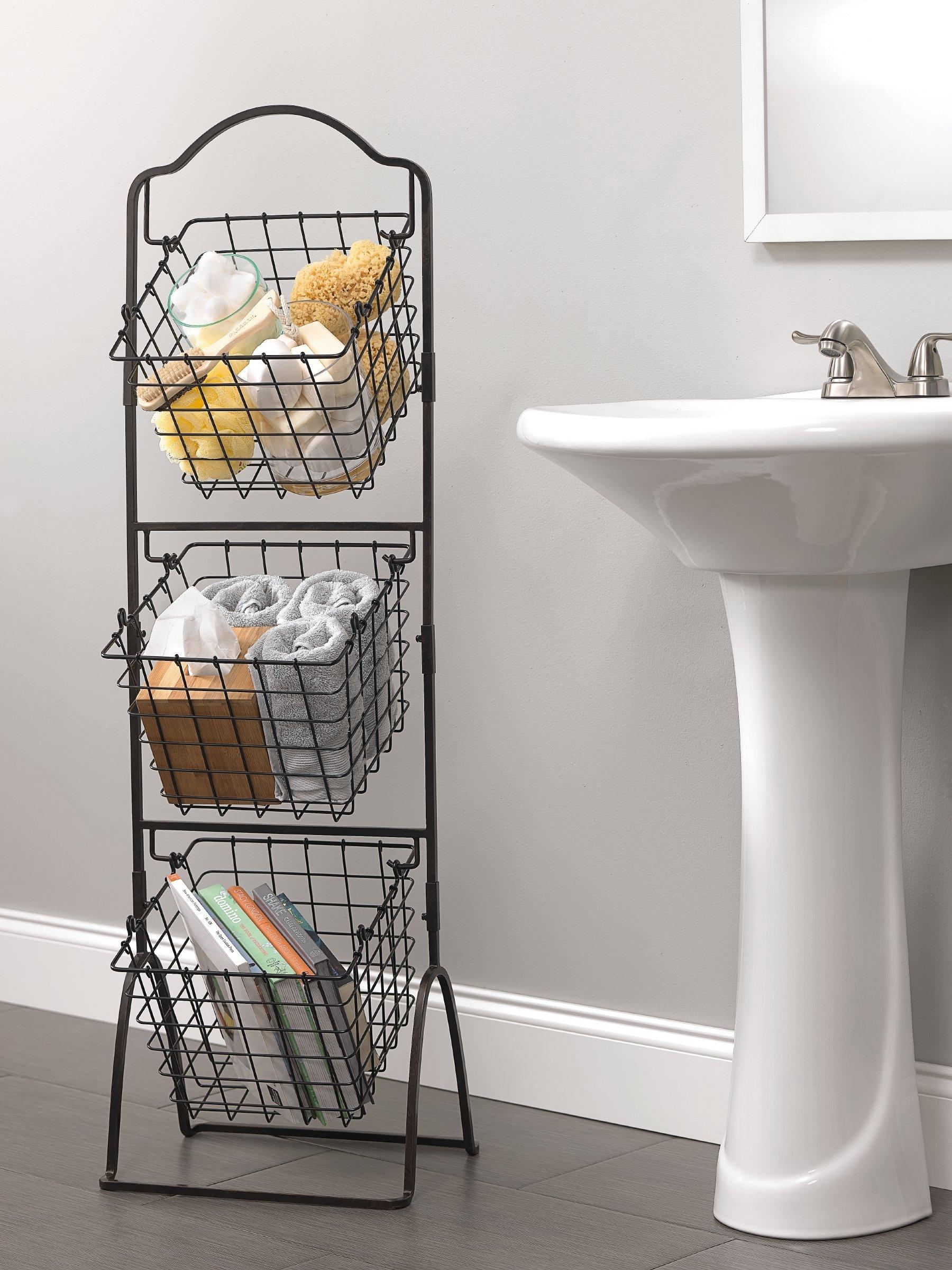 3 Tier Floor Stand Bushel Basket Vegetables Fruit Bathroom