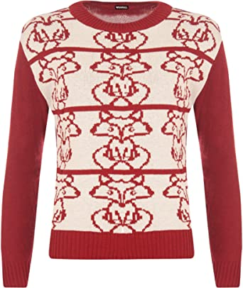 Wearall Womens Round Neck Long Sleeve Knitted Fox Pattern Top