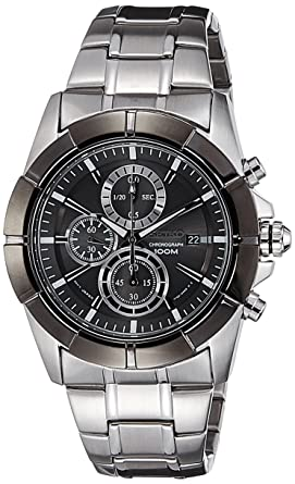 Image Unavailable. Image not available for. Color  Seiko Lord Chronograph  Black Dial Stainless Steel ... 557f642f2af